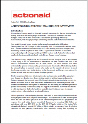 MDGs Briefing: Halving Hunger Through Investment in Small Farmers