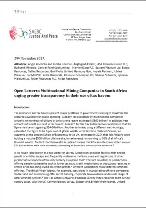 Open Letter from Catholic Bishops to mining companies in South Africa urging greater transparency in their use of tax havens