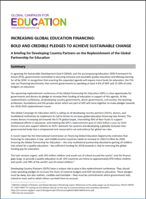 Increasing Global Education Financing: Bold and Credible Pledges to Achieve Sustainable Change