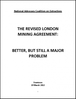 Briefing on London Mining Agreement in Sierra Leone