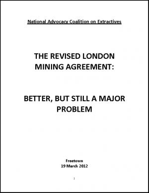 Briefing on London Mining Agreement in Sierra Leone